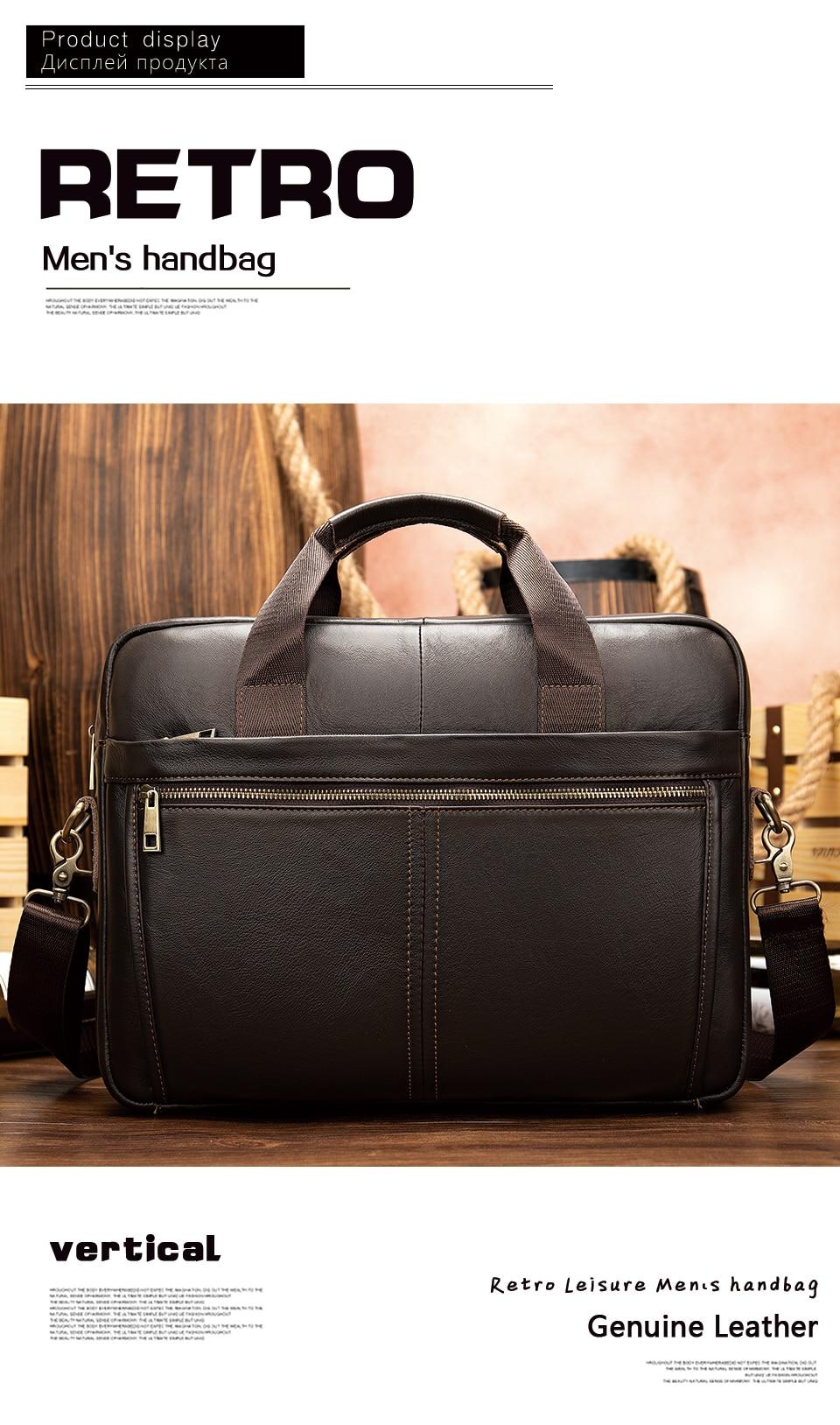 HTB1M4WrUCzqK1RjSZPcq6zTepXaQ WESTAL briefcase messenger bag men's genuine leather 14'' laptop bag men's briefcases office business tote for document 8572