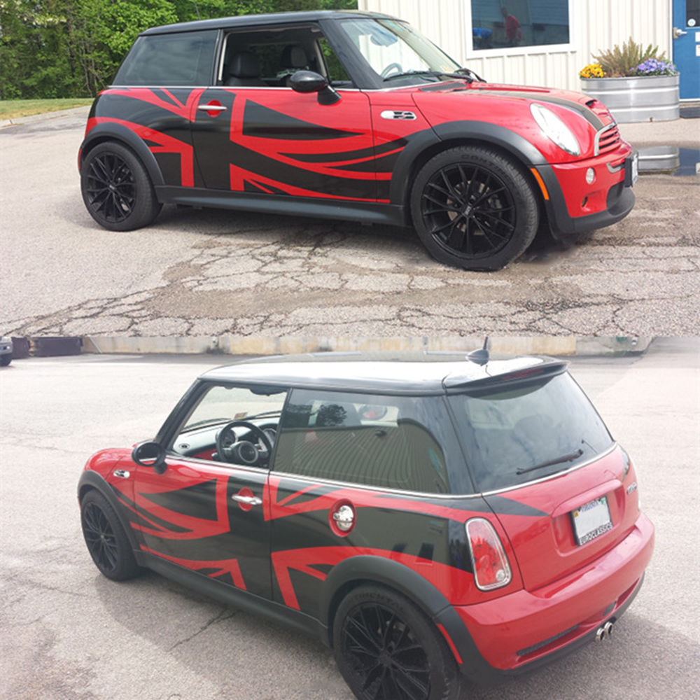 Balck Union Jack Door Side Skirt Decal Stickers DIY Protection For Mini Cooper JCW Countryman Clubman Car-Styling Accessories 2pcs set union jack rear trunk door handle covers decoration sticker for mini cooper jcw f54 clubman car styling accessories
