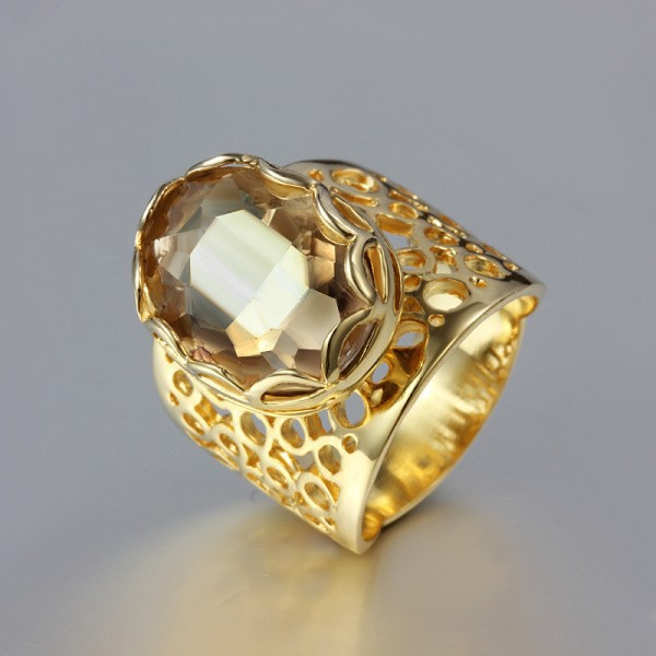 YHAMNI Classic Womens Gold Filled Finger Rings Big Yellow Zircon Engagement Rings Fine Jewelry RING SIZE 6/7/8/9 YH183