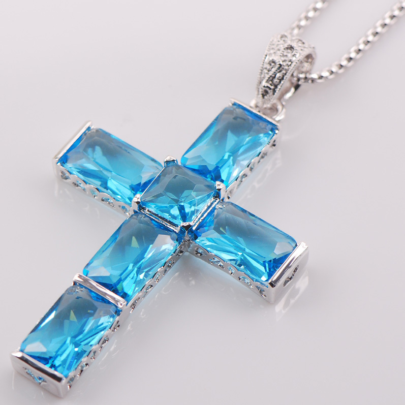 Cross Simulated Aquamarine 925 Sterling Silver Fashion Jewelry Pendant TE432