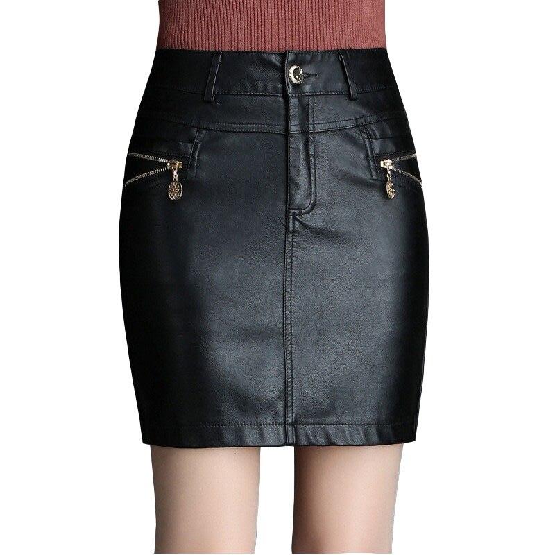 c48eabe28 Falda de cuero PU para mujer 2018 otoño e invierno talla grande S-6XL Sexy  paquete falda de cadera ...