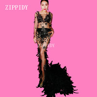 Black Mesh Crystals Feather Train Dress Women's Evening Party Perspective Luxurious Dress Prom Birthday Celebrate Dress