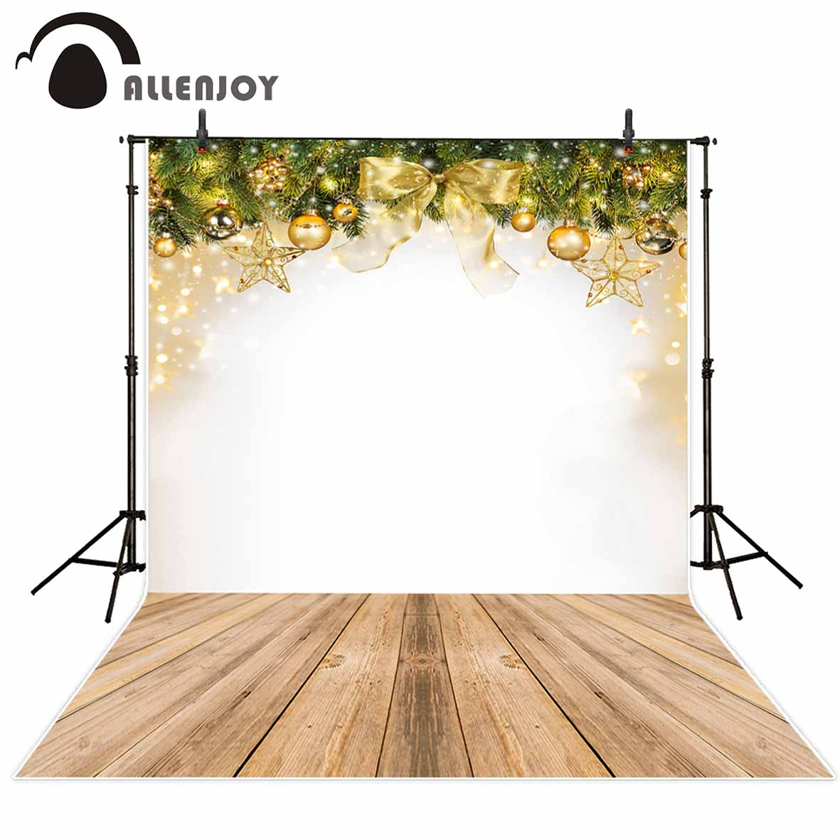 Allenjoy photography background Christmas gold Bow tie bokeh glitter stars wood floor backdrop photo studio photobooth