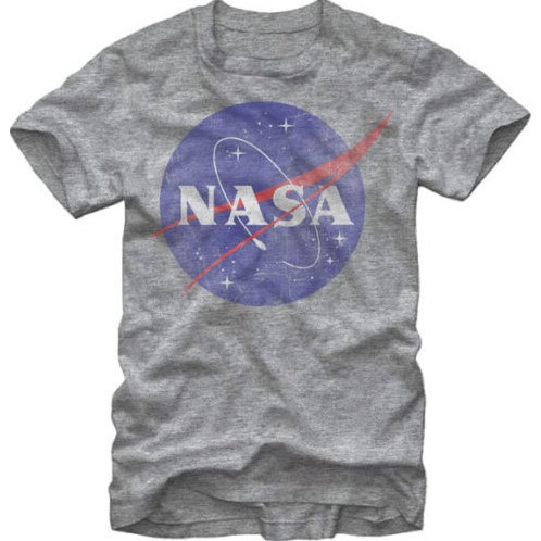 Design Men T shirt NASA Logo Distressed Men's Heather T-Shirt Short sleeved 100% Cotton Casual Family tshirt Plus Size Tees