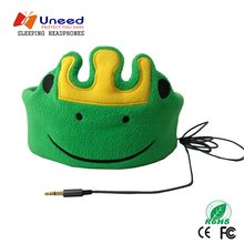 Uneed Children Headband Headphones Soft Safe Child Cartoon Sleep Headphone Yellow Pink Green Flannel Headset For Music Study(China)