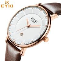 EYKI Men S Watches Ultra Thin Brand Luxury Business Man Quartz Watch Male Date Leather Vintage