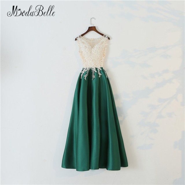 modabelle Long Elegant Green Prom Dress A-Line 2018 Gorgeous Sheer Nude  Lace O Neck Long Party Dress Maxi Prom Evening Gowns c5e6f5e0380f