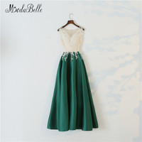 modabelle Long Elegant Green Prom Dress A Line 2018 Gorgeous Sheer Nude Lace O Neck Long Party Dress Maxi Prom Evening Gowns