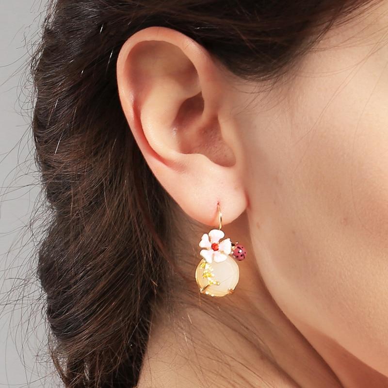 2015 Ljeto Novi dizajn Slatki naušnica cvijet emajl Ladybug Okrugli - Modni nakit - Foto 2