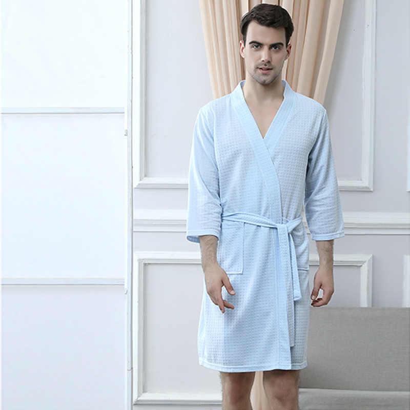 גברים בתוספת גודל באורך הברך למצוץ זיעה מגבת חלוק אמבטיה Mens קימונו ופל חלוק זכר נשים סקסי יאקאטה הלבשה שמלת Nightwear