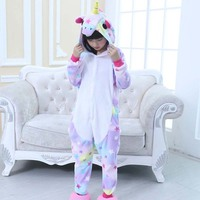Kids Unicorn Pajamas Onesie Children Animal Unicorn Sleepwear Costume Winter Anime Hoodie Pyjama For Girls Boys