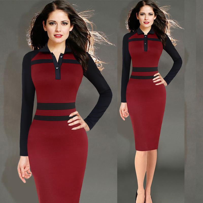Vestido Rojo Caliente Para Las Mujeres Oficina De Trabajo De