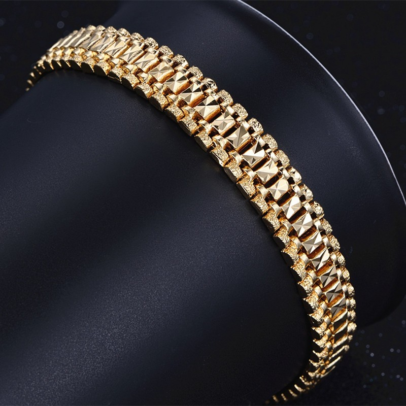 Male Bracelet Women Jewelry 12MM Pulseira Masculine Trendy Gold Color Chunky Chain Link Bracelet Wholesale Bileklik For Man P166 12
