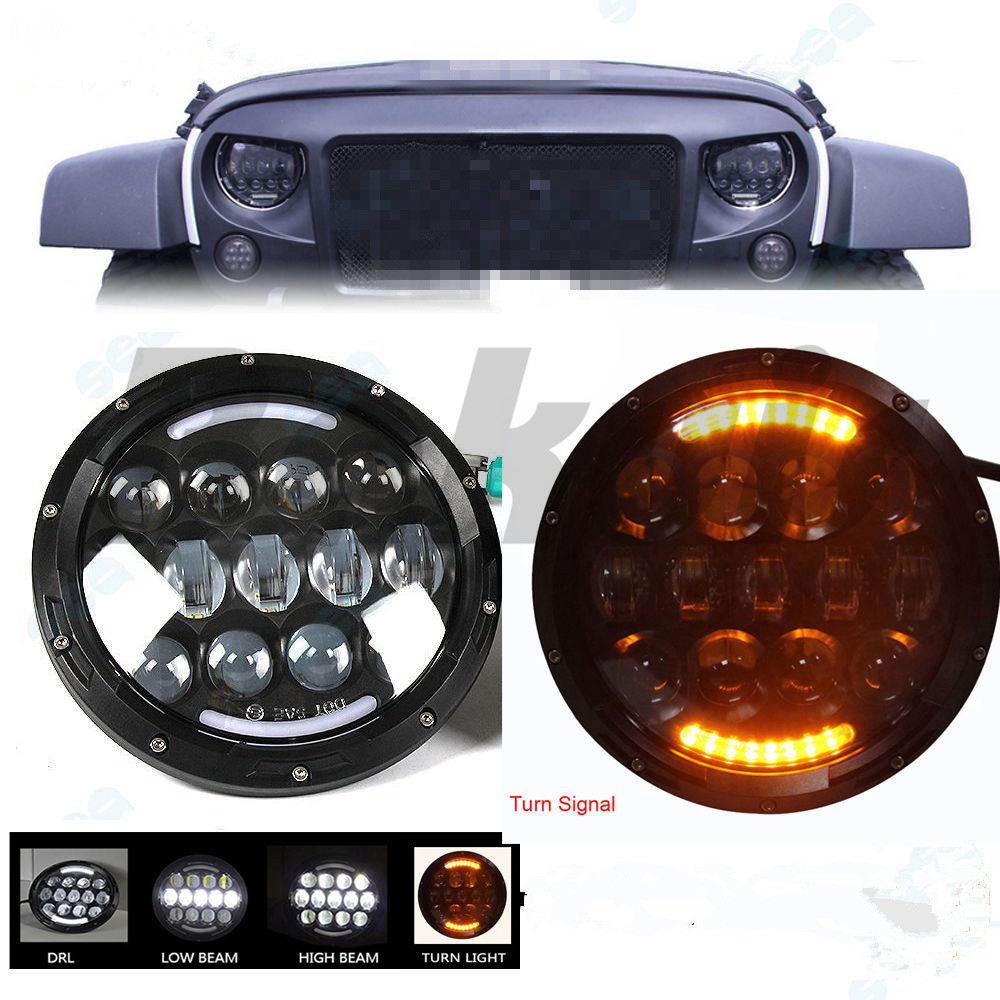 DOT E-mark 105W 7 inch round headlight Led for Jeep Wrangler for Hummer 4X4 4WD SUV auto Driving Fog Light Headlight Headlamp black chrome 2pcs 7inch round 105w led headlight drl turn signal for jeep wrangler hummer 4x4 4wd suv driving headlamp