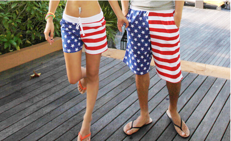 2017 new polyester peach skin Men&womens boys&girls American flag   board     shorts   beach   shorts   USA flag summer trunks beachwear