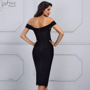 Image 5 - Adyce 2020 New Summer White Bandage Dress Women Vestidos Black Sexy Off Shoulder Bodycon Club Midi Celebrity Runway Party Dress