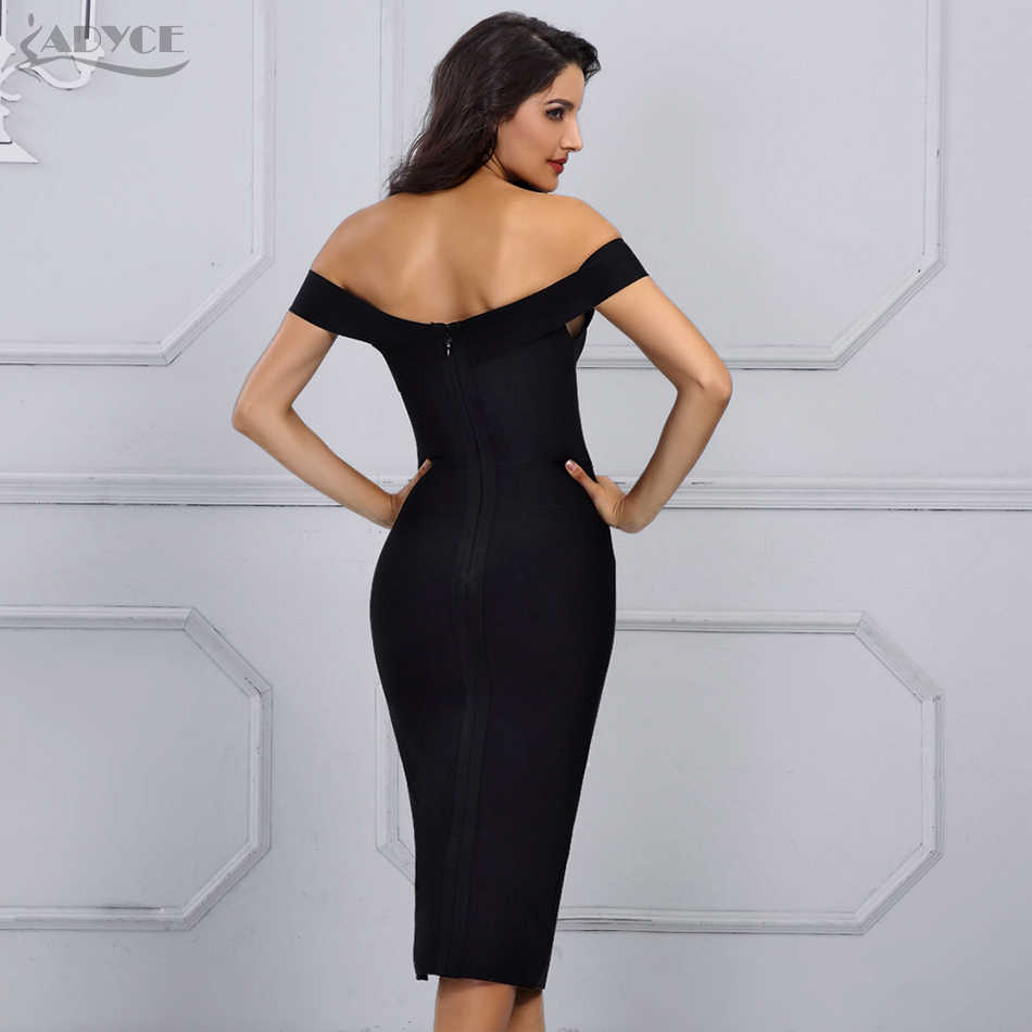 ... Adyce Summer White Bandage Dress Women Vestidos Verano 2018 New Black  Sexy Off the Shoulder Bodycon ... c129cfe90f77
