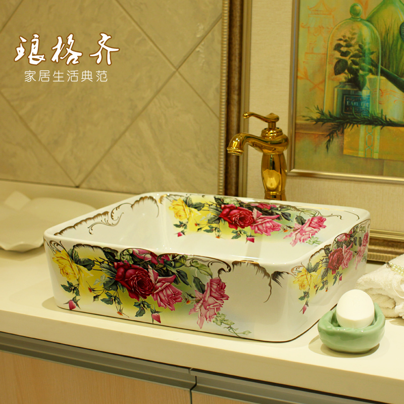 Jingde ceramic bathroom wash basin, art basin square roses bar ktv personalized silver wash basin wash upscale bathroom ceramic basin washbowl villa clubhouse silver pedestal basin