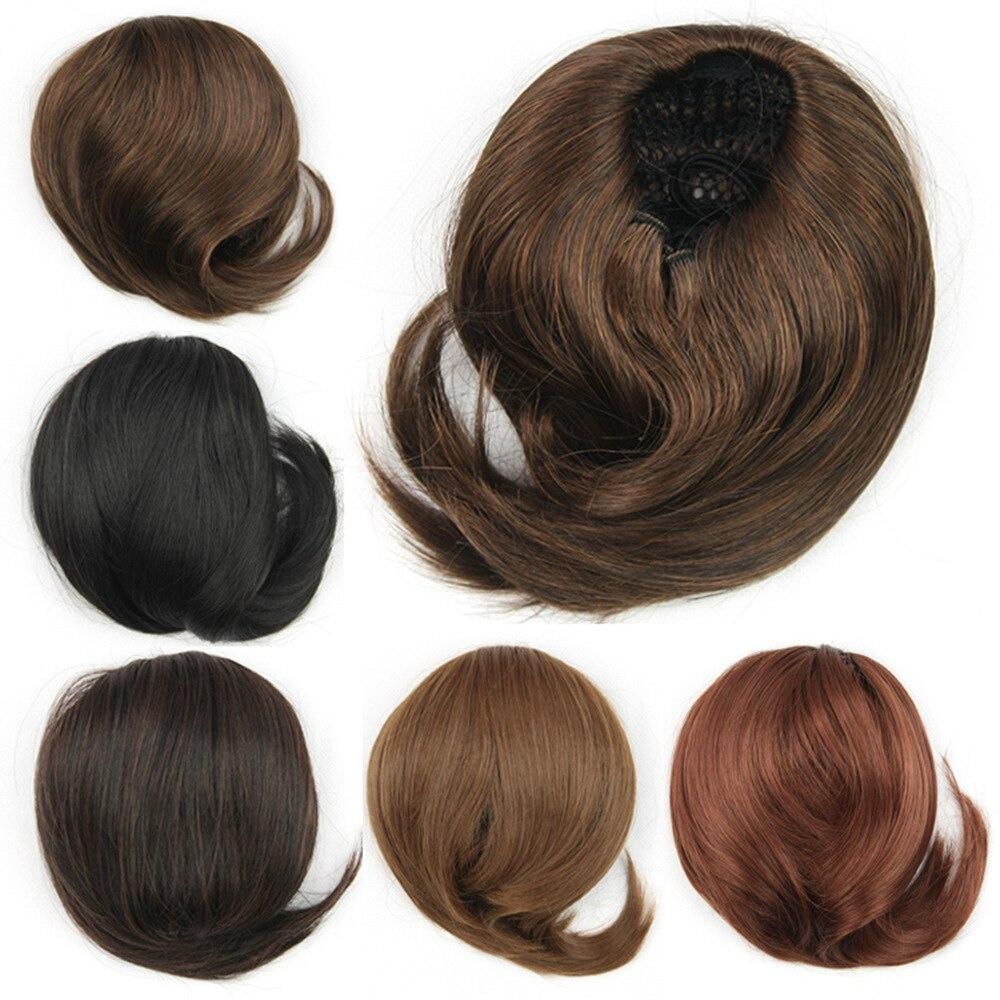 us $8.52 |new arrival 6 color female wedding chignon hair piece bun fake hair bun extension synthetic short straight chignon hairstyle on