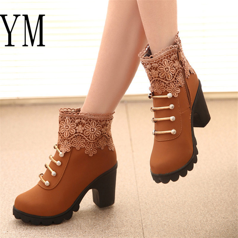 Hot Women PU Pattern Ankle Boots shoes Sexy Lace Cuff Thick Heel Women Boots Fall Winter Fashion Black Martin Women Shoes mujer 2019 white women ankle boots lace rabbit fur cuff beadings lolita sweet low heel winter fall shoes lady student female boots