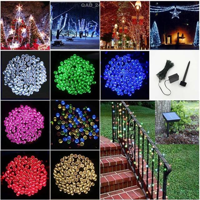100 Columnas de Luz LED Luces de la Secuencia Solar Festival Lámpara de La Decoración de Vacaciones de Navidad Luces de Iluminación Al Aire Libre