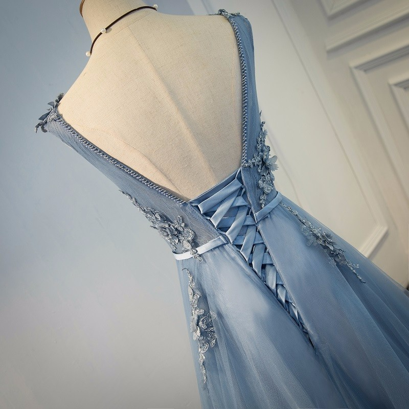 Elie Saab Blue Evening Dresses 2018 Plus Size Tulle Appliques Long Formal Dresses Gowns V Neck Lace Up Sleeveless Robe De Soiree 10