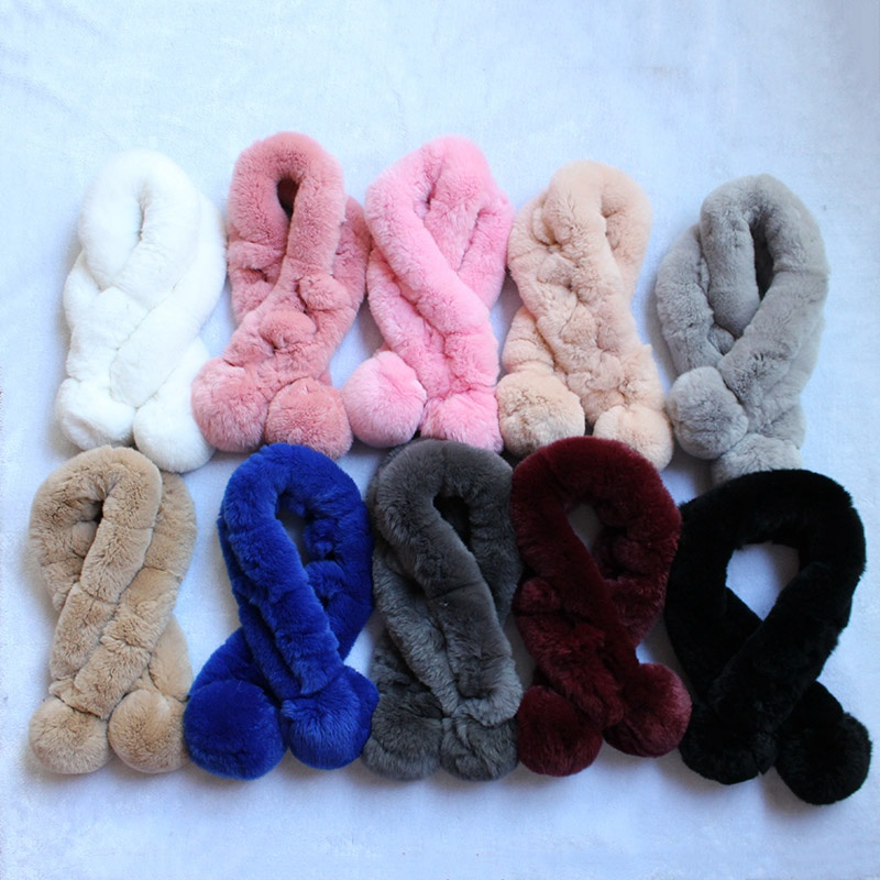 women real rex rabbit fur   scarf   color   Scarves     Wraps   for femme winter fashion ball pompoms style warm neck warmer Russia styles