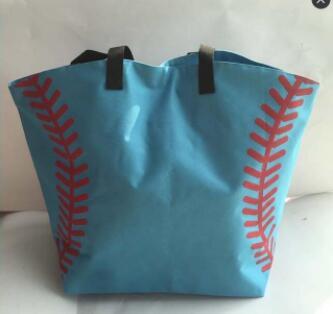 Pink Yellow Softball White Baseball Jewelry Packaging Blanks Kids Cotton Sports Bags Baseball Softball Tote Bag For Children