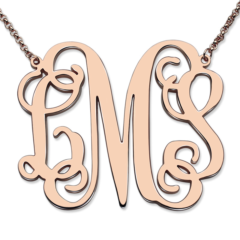 XL Monogram Necklace 1 7 Inch Personalized Name Necklace Monogram Initial Jewelry Rose Gold Plated