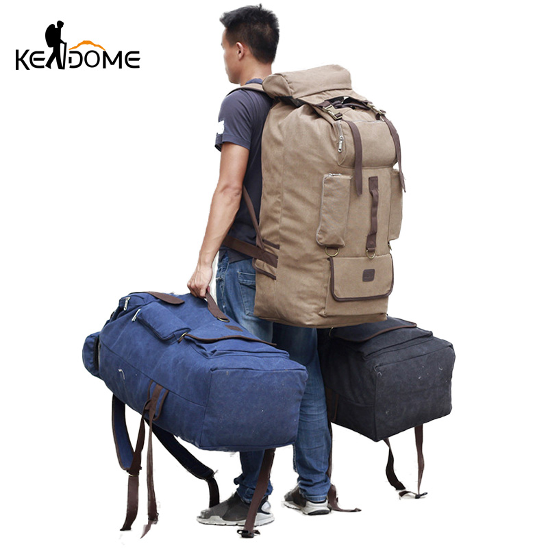 Men Hiking Backpack Canvas Bag Large Capacity Male Travel Rucksack Drawstring Trekking Camping Mountaineering Balso Sport XA154D
