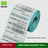 50mmx50mm 500pcs one roll self adhesive white blank thermal sticker label barcode paper can be custom logo address papel|papel|papel sticker|  -