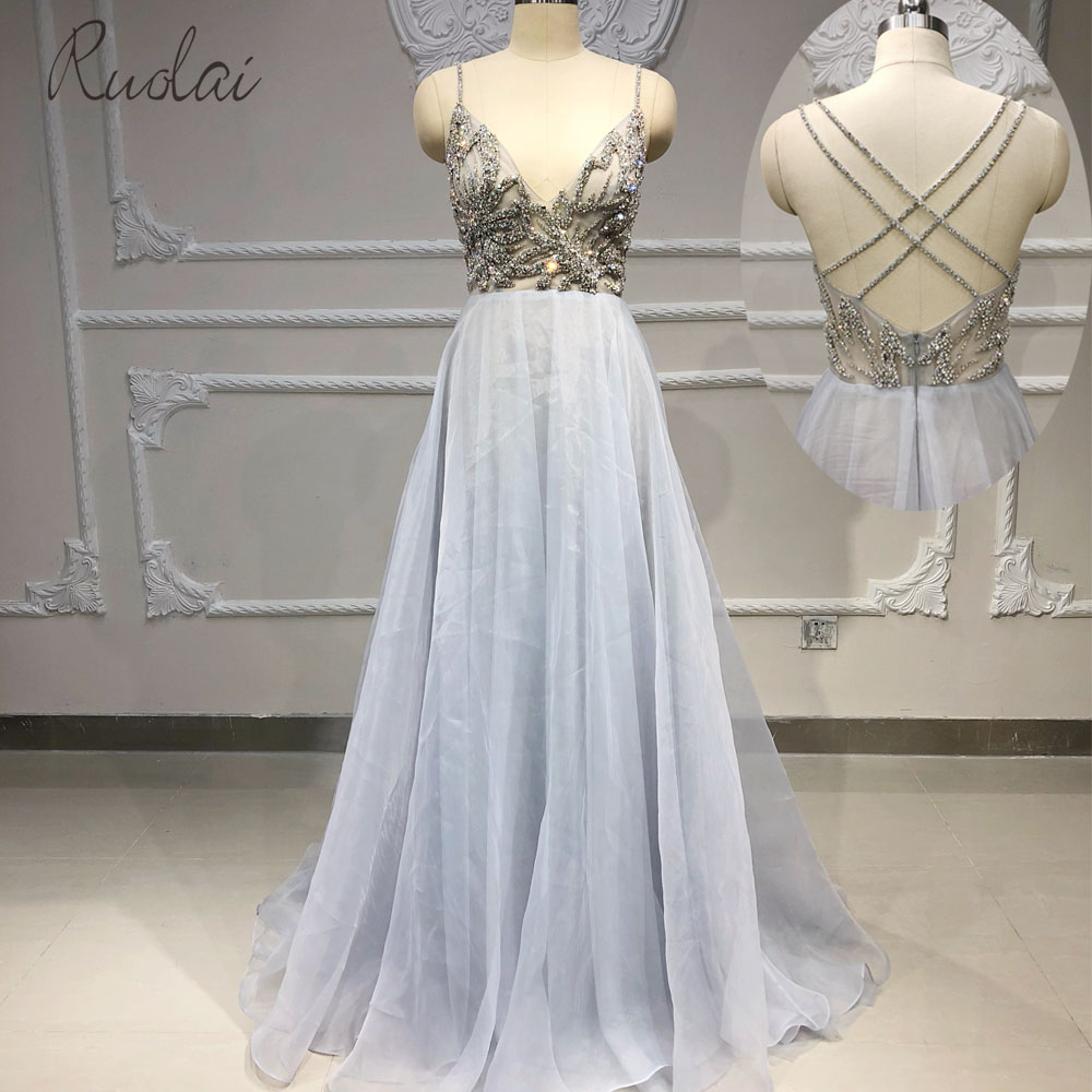 New 2019 heavy Crystal spaghetti strap A line   Evening   Gown for Women   Evening     dress   robe de soiree