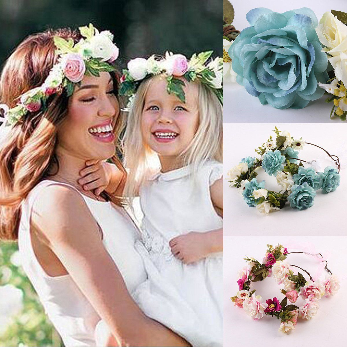 Hair Accessories Pretty Girls& Mother Hairband Wedding Flower Hair Garland Crown Headband Lovely Wreath 2 Colors Pink% Blue 19/17cm Princess Yet Not Vulgar Girls' Baby Clothing