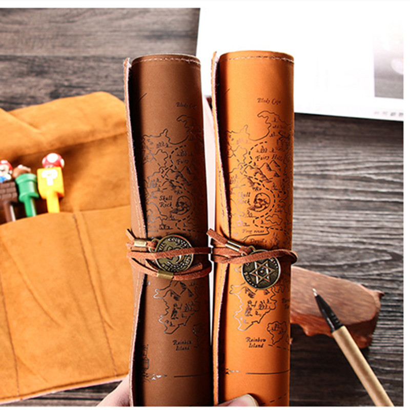 Vintage Retro Treasure Map Pencil Cases Luxury Roll PU Leather Pen Bag Pouch For Stationery School Supplies Make Up Cosmetic Bag