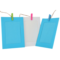 ZUCZUG 10pcs 6inch Paper Photo Album DIY Wall Picture Hanging Frame Album Rope Clips Set Blue
