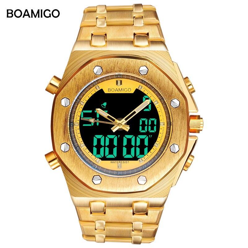BOAMIGO marca degli uomini di sport orologio analogico al quarzo digitale orologi da polso in oro acciaio inox regalo maschio orologio Relogio Masculino erkek kol saati