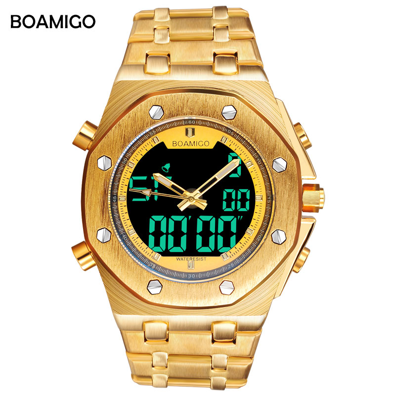 BOAMIGO brand men sport watch analog digital quartz wrist watches gold steel male gift clock Relogio Masculino erkek kol saati 2018 fashion watch men retro design leather band analog alloy quartz wrist watch erkek kol saati