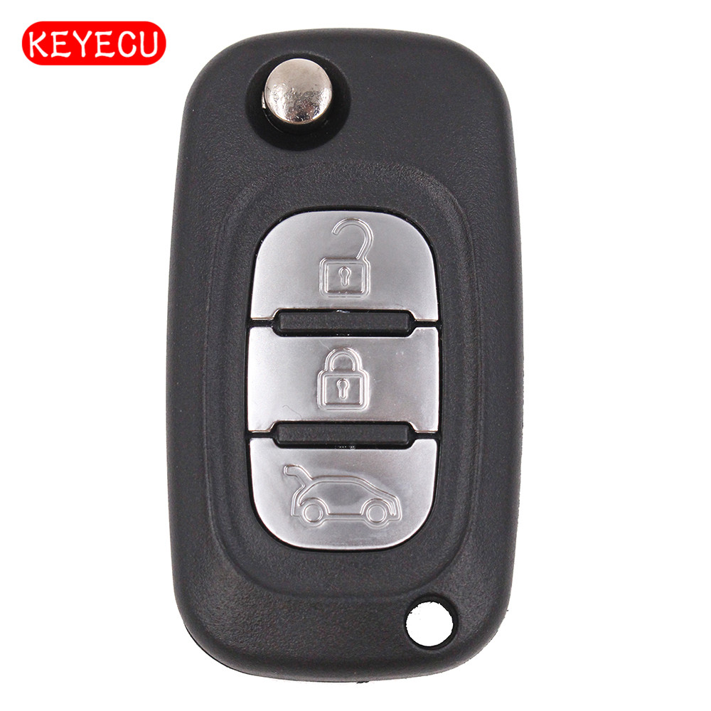Keyecu Flip Remote Car <font><b>Key</b></font> Fob 3 Button / 2 Button 433MHz PCF7946 for Renault 2006-2013 Clio 3 Master Kangoo Twingo 2006-2015