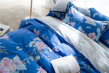 Tencel cotton flowers print duvet cover set queen king size bedding set for girls,soft bed sheet pillowcase duvet quilt cover 38