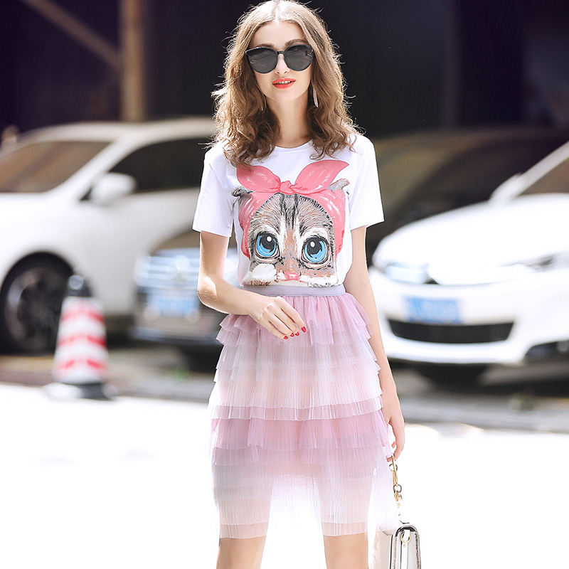 Laurence family RMOJUL 2018 summer wear womens clothing new cat T-shirt + net yarn cake skirts fashion suits