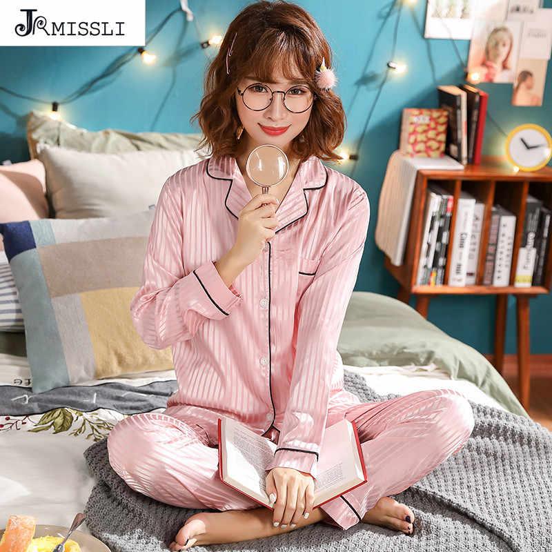 JRMISSLI women Pajamas Spring Silk pink Striped Womens Sleepwear Set Girl  Nightgown pijama mujer Silk Cardigan 37425c8f8