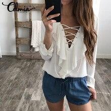 Celmia Womens Summer Blouse 2018 Chiffon Blouse Sexy Top Lace Up V Neck Ruffle Long Sleeve