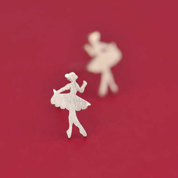 Small Dancing Girl Silver Stud Earrings6