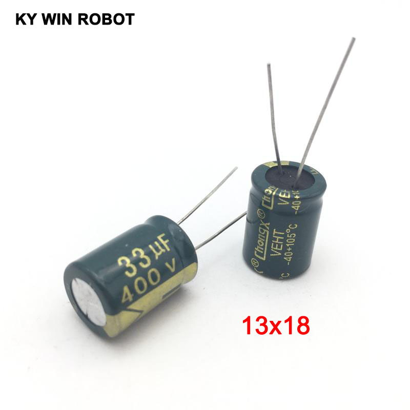 10 Pcs Aluminum Electrolytic Capacitor 33 UF 400 V 13 * 20 Mm Frekuensi Tinggi Radial Electrolytic Kapasitor