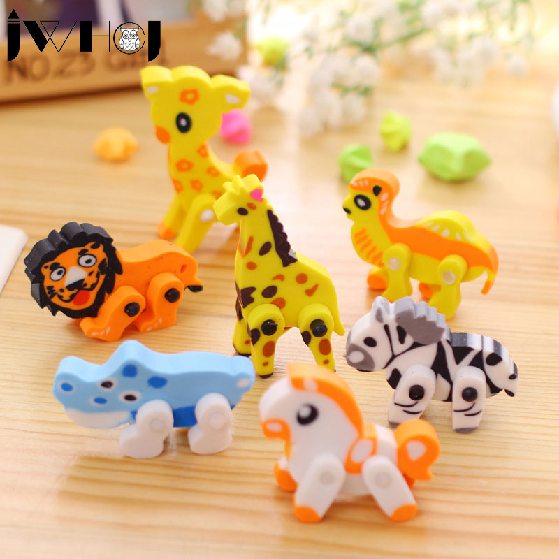 2 Pcs  Novelty 3D Animal Shape Rubber Eraser Creative Kawaii Stationery School Supplies Papelaria Gift For Kids