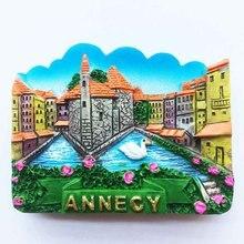 Alps, Франция, Annaxi Аннеси трехмерная живописные туристический магнит Сувенирный стикер Холодильник
