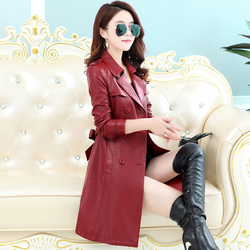 2019 Fashion PU Faux   Leather   Women Outwear Autumn Winter Long Windbreaker Female Plus Size 4XL 5XL Double Breasted Slim Coat
