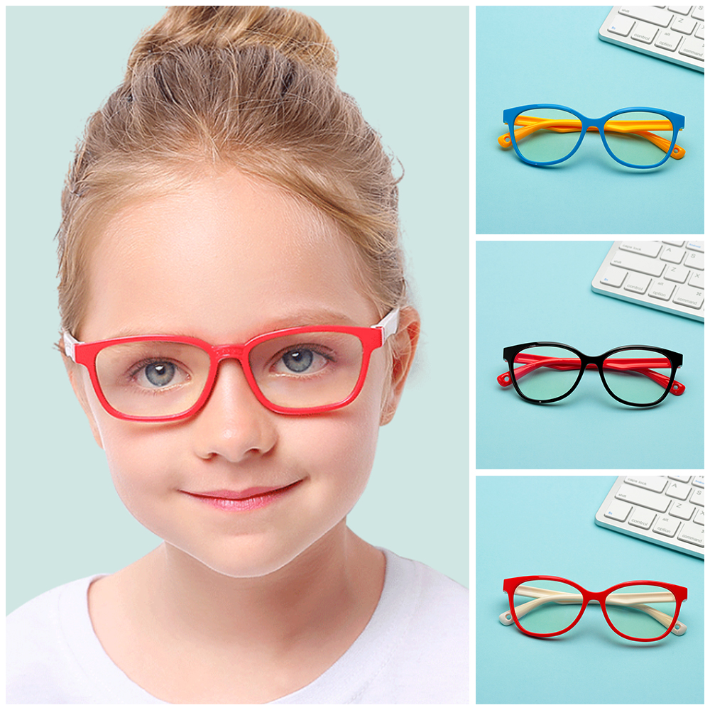 Beautiful 3 Styles Glasses For Girls Boys Soft Silicone Frame Anti Blue Ray Lens Eye Protector Children Kid Glass Frame Goggles Clear Lens