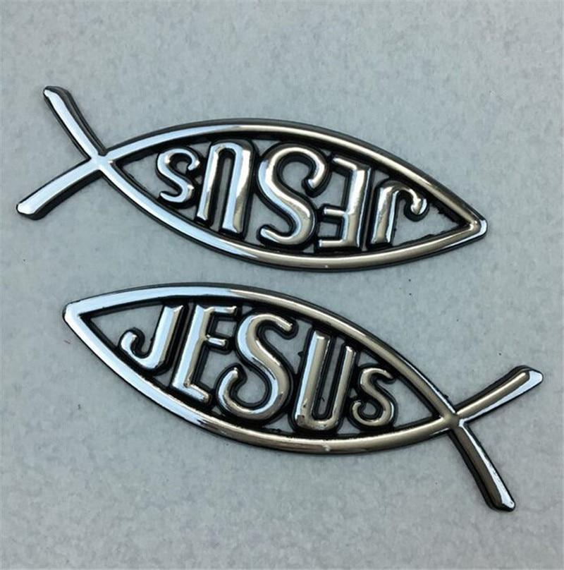 2Pcs/Set Auto Car 3D Metal Christian Jesus Fish Emblem Sticker Car Badge Religious Ichthus Symbol Exterior Accessories auto car chrome black christian fish jesus emblem badge decal sticker