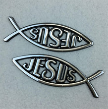 2Pcs/Set Auto Car 3D Metal Christian Jesus Fish Emblem Sticker Car Badge Religious Ichthus Symbol Exterior Accessories